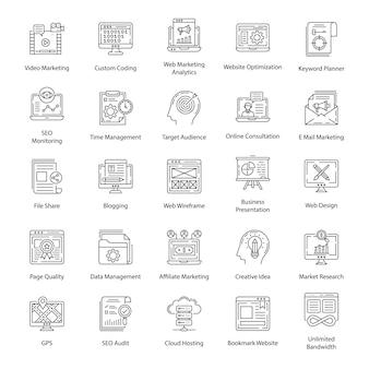 Pack van seo lijn iconen