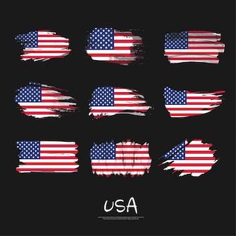 Pack van usa vlag met penseelstreek.
