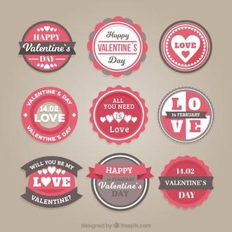 Pack van valentijn stickers in vintage stijl
