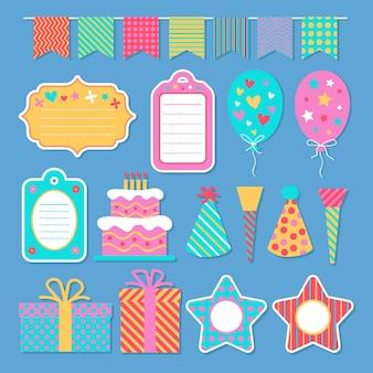 Pack van verjaardag plakboekelementen