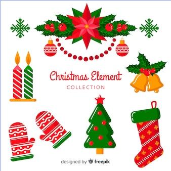 Pack van verschillende kerst elementen in vlakke stijl