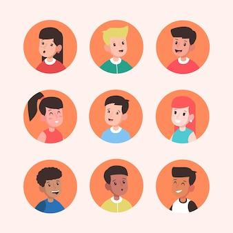 Pack van verschillende mensen avatars