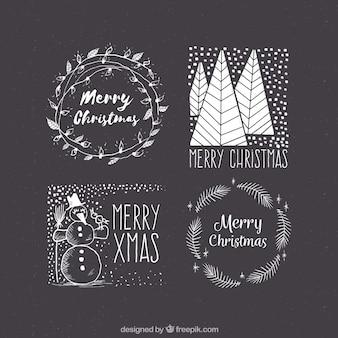 Pack van vintage kerst stickers