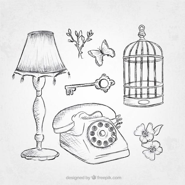 Pack van vintage objecten schetsen