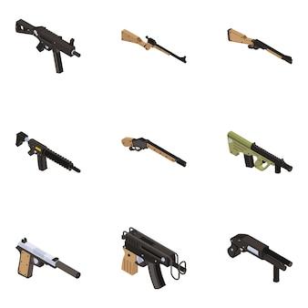 Pack van vuurwapen in isometrische weergave