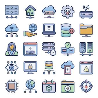 Pack van web hosting-pictogrammen
