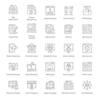 Pack van web-lijnpictogrammen