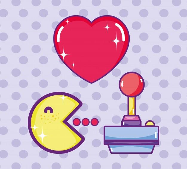 Pacman cute cartoon retro videogame concept