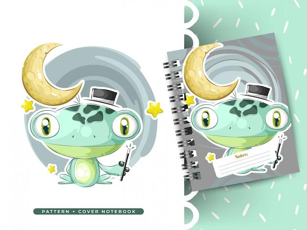 Pad, kikker, tekening van een kikker. idee voor boek en