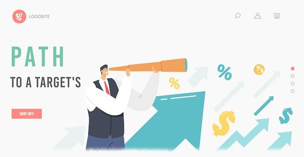 Pad naar bestemmingspaginasjabloon. zakenman karakter kijken naar spyglass op groeiende pijlen, op zoek naar succesvolle financiële ideeën. business man planningsstrategie. cartoon vectorillustratie
