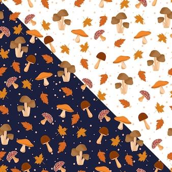 Paddestoel en bladeren naadloze patroon