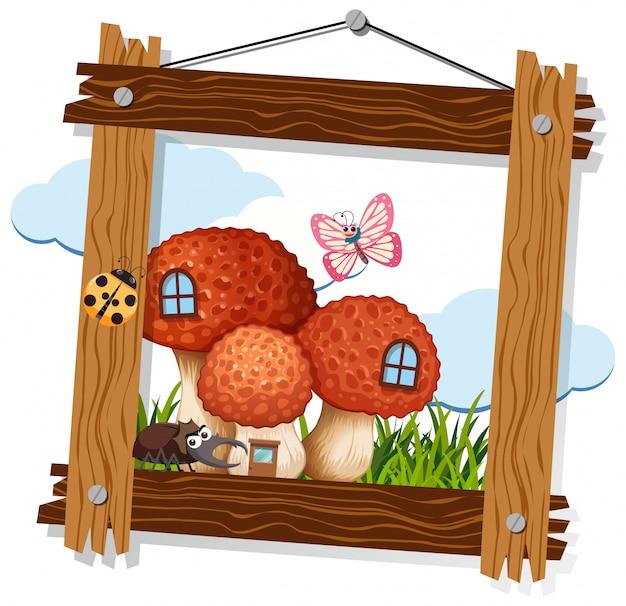 Paddestoel en insect op houten frame