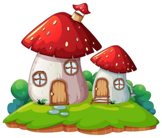Paddestoel huis geïsoleerde scène