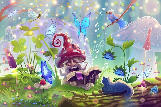 Paddestoel in magisch bos met fantasiedieren in de zomertuin tussen vlinders, huisdieren en bessen