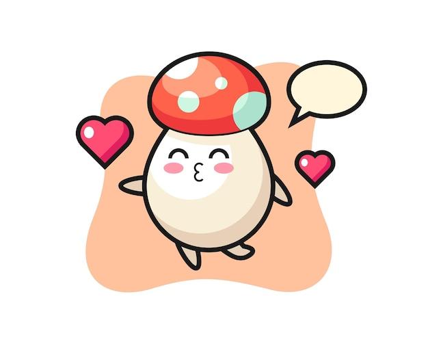 Paddestoel karakter cartoon met kussend gebaar, schattig stijlontwerp voor t-shirt, sticker, logo-element