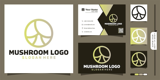Paddestoel lineart logo modern concept en visitekaartje ontwerp
