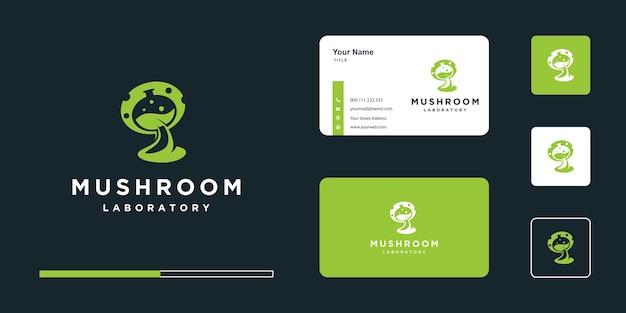 Paddestoel logo-stijl met pictogram en visitekaartje ontwerp