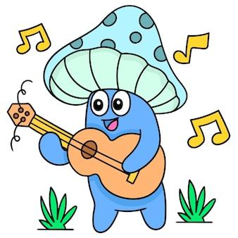 Paddestoel met een grappig gezicht dat lacht terwijl hij een lied zingt met een gitaar, doodle draw kawaii. vector illustratie kunst