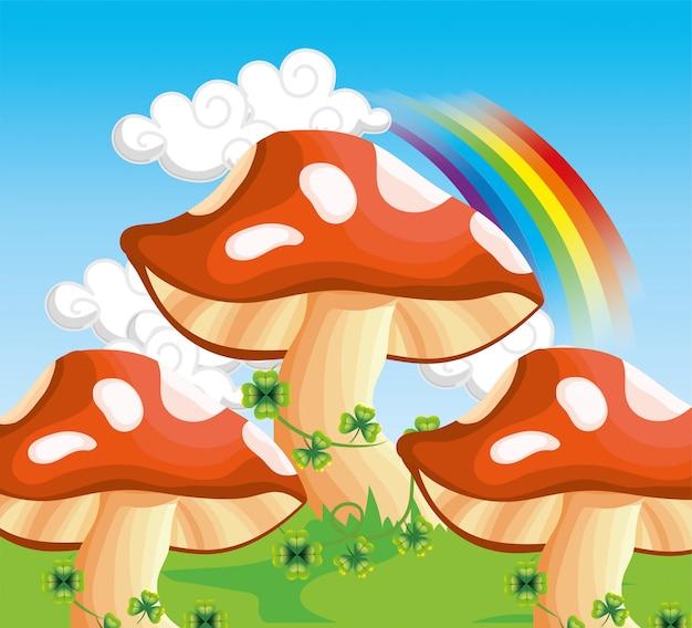 Paddestoel met klaverblaadjes planten en regenboog in de wolken