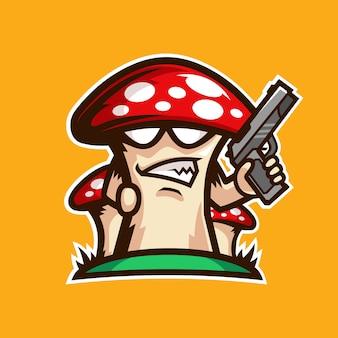 Paddestoel pistool mascotte logo