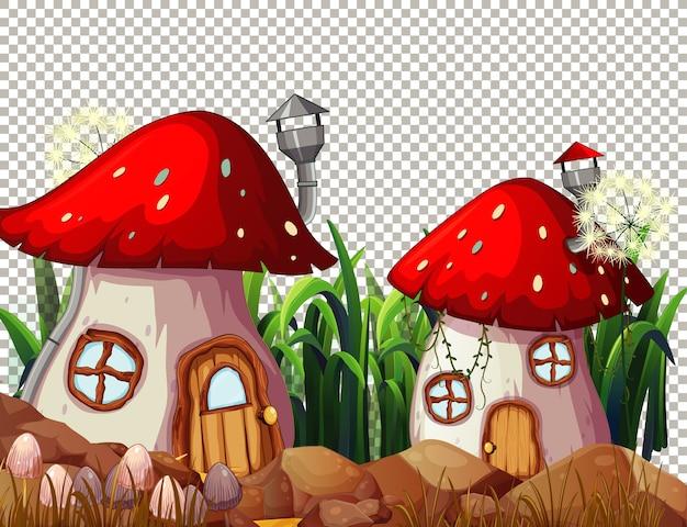 Paddestoelenhuisdorp in sprookjesachtig thema op transparante achtergrond