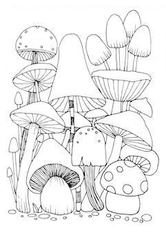Paddestoelkrabbels voor het kleuren van boek geïsoleerde illustratie op witte achtergrond