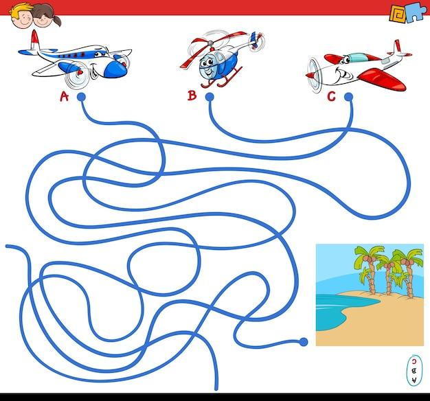 Paden doolhofspel met vliegtuigpersonages