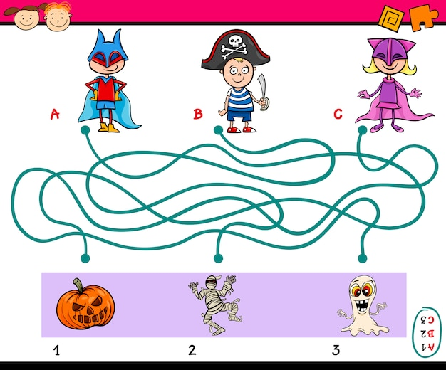 Paden puzzeltaak voor kinderen