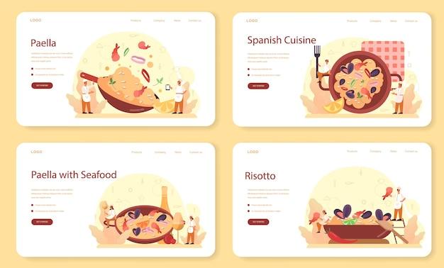 Paella-webbanner of bestemmingspagina-set