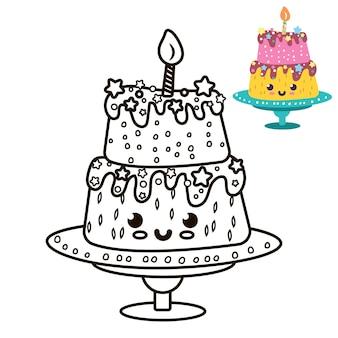 Pagina kleuren taart