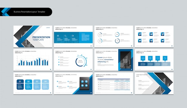 Pagina layout ontwerp voor bedrijfspresentatie brochure, boek, jaarverslag en bedrijfsprofiel