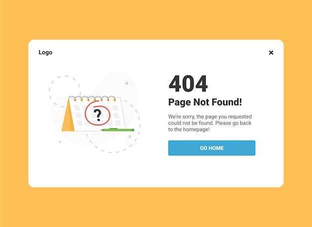 Pagina niet gevonden 404-foutbannersjabloon voor desktopversie ui-ontwerp