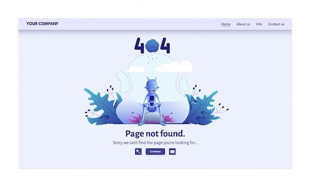 Pagina niet gevonden foutbericht voor website-illustratie. waarschuwing, netwerkverbindingsprobleem, bestemmingspagina voor zoeken op internet