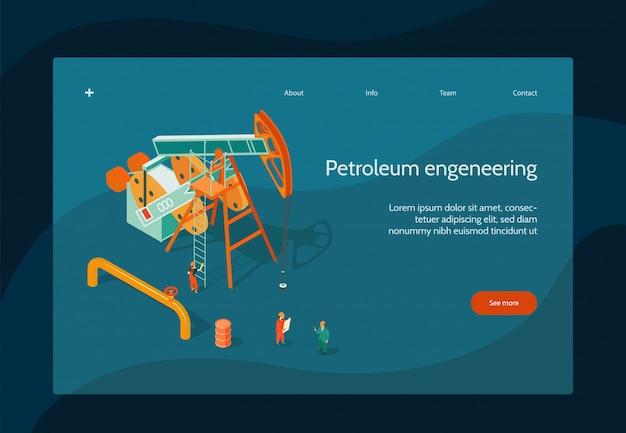 Pagina-ontwerp van de olie-industrie met isometrische symbolen voor aardolie-engineering
