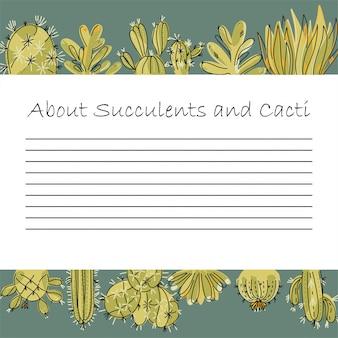 Pagina over succulenten en cactussen. voel je vrij om je tekst te plaatsen