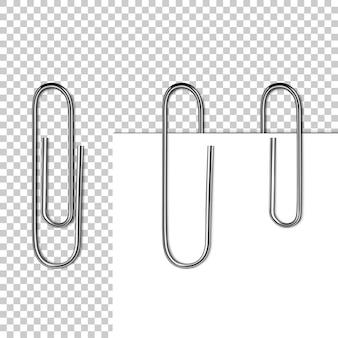 Pagina papier op clip illustratie van 3d-realistische metalen clip met lege memo of witte notitie blad