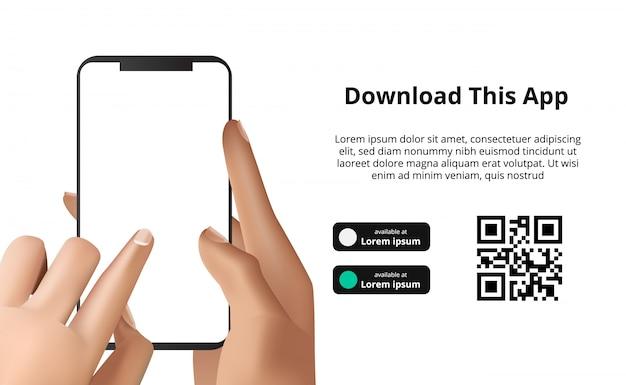 Paginabannerreclame voor het downloaden van app voor mobiele telefoon, smartphone. download knoppen met scan qr codesjabloon.