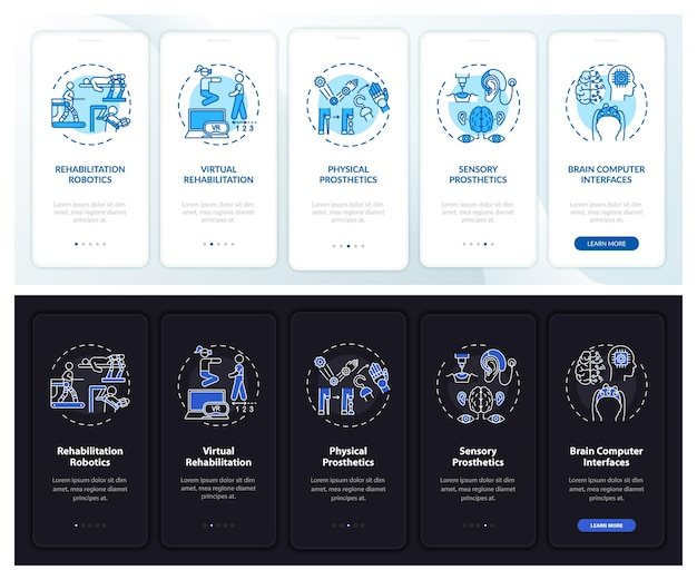 Paginascherm voor onboarding van ondersteunende technologie voor mobiele apps met concepten