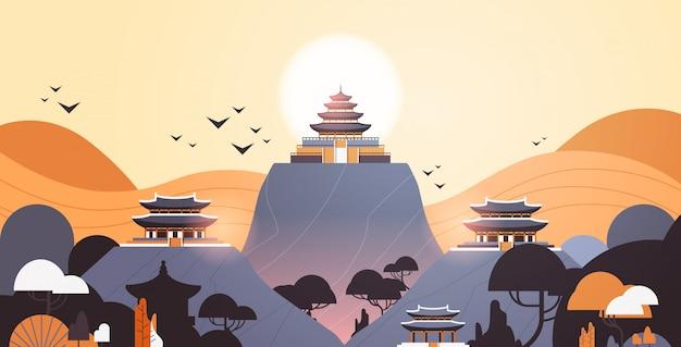 Pagodegebouwen op horizontale het landschapsachtergrond van het paviljoensarchitectuur aziatische landschap horizontale