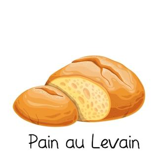 Pain au levain, zuurdesembrood icoon. franse bakkerij product gekleurde afbeelding.