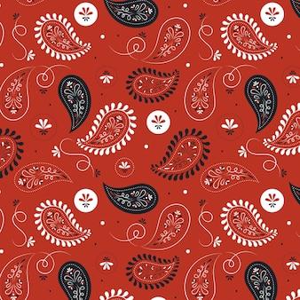Paisley bandana naadloze bloemmotief op rode achtergrondgeluid