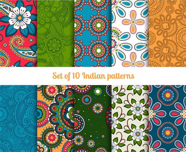 Paisley en bloem indische naadloze patronen