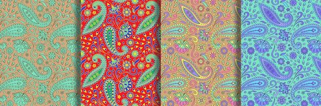 Paisley naadloze patronen set vintage bloemen herhalen achtergronden