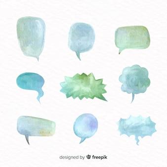 Pak aquarel tekstballonnen met verschillende vormen