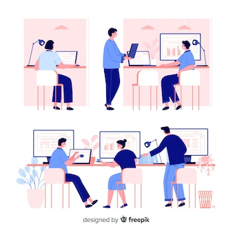 Pak beambten die bij bureaus zitten