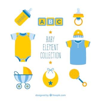 Pak blauwe en gele babyelementen