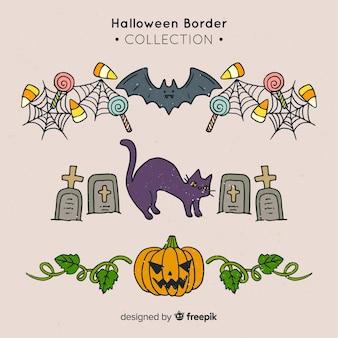 Pak decoratieve halloween-grenzen ter beschikking getrokken stijl