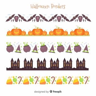 Pak decoratieve halloween randen in platte ontwerp