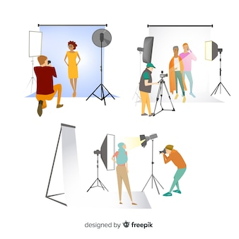 Pak fotografen die verschillende geïllustreerde schoten nemen