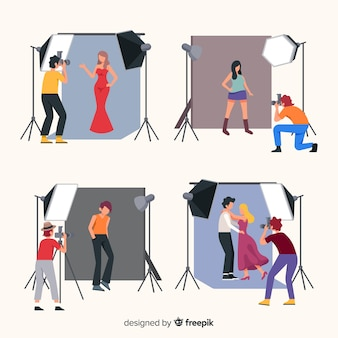 Pak fotografen die verschillende opnames maken